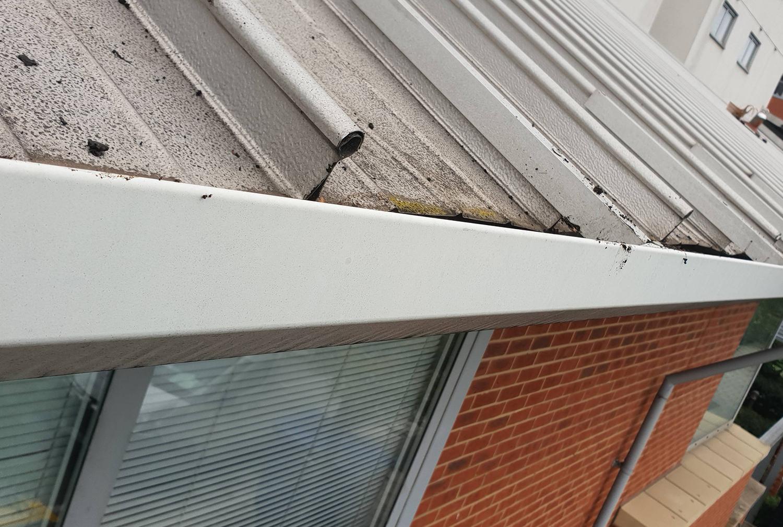 High level gutter cleaning job
